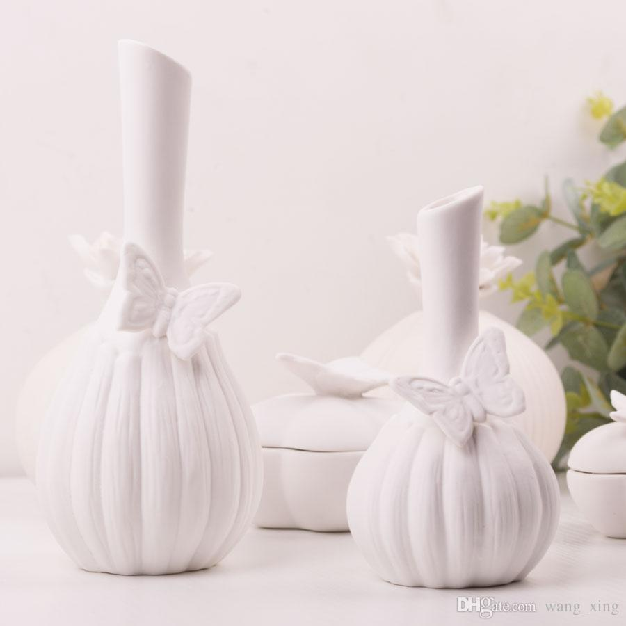 dh white ceramic flower vase home decoration accessories butterfly  - dh white ceramic flower vase home decoration accessories butterfly theme flowervase marriage decorative vase wedding gift tall clear vases tall colored
