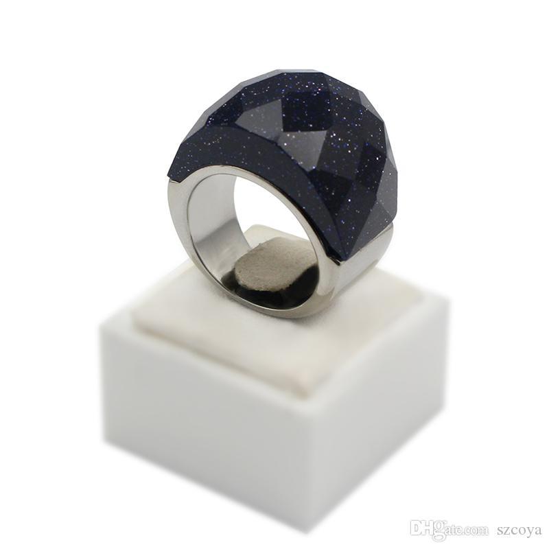 Anelli d'argento arenaria blu sudafricana naturali dell'anello profondo di colore con gli anelli brillanti delle stelle Stile popolare le signore