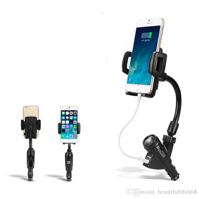 Universal 360 Degrees Rotation Dual USB Port Charger Mount Holder for iPhone 6s 7 7 plus s7 s7 edge P9 P10 Mobile Phone