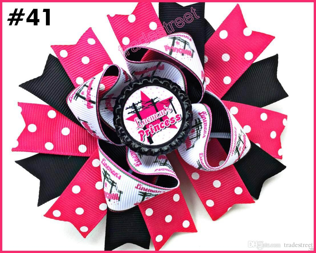 5'' 2017 newest character bow school hair bows Patriotic Bow inspired hair clips fashion girl hair accessories A