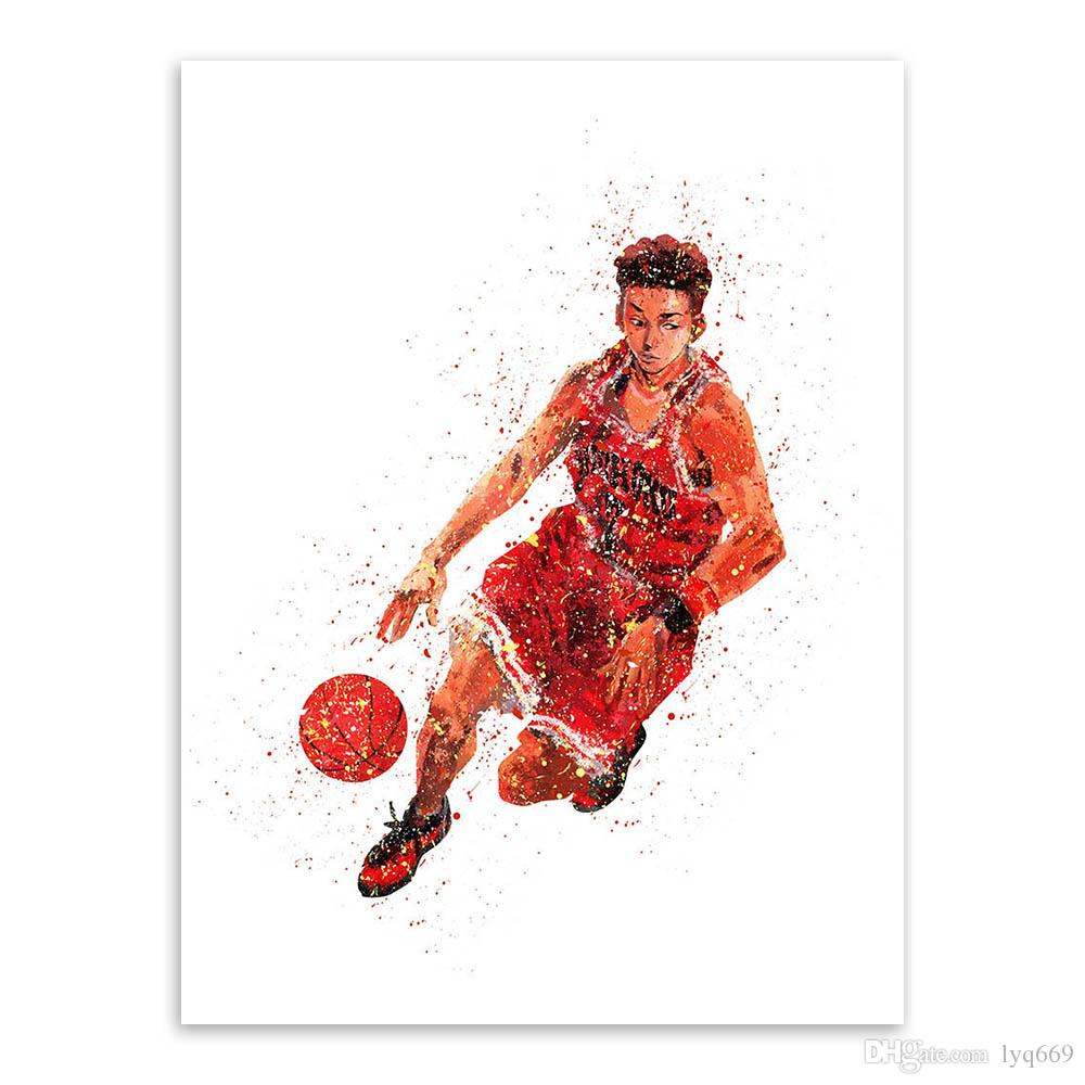 Acquerello Slam Dunk Animazione giapponese Basket Poster Boy Camera dei bambini Wall Art Picture Home Decor Tela Senza Cornice