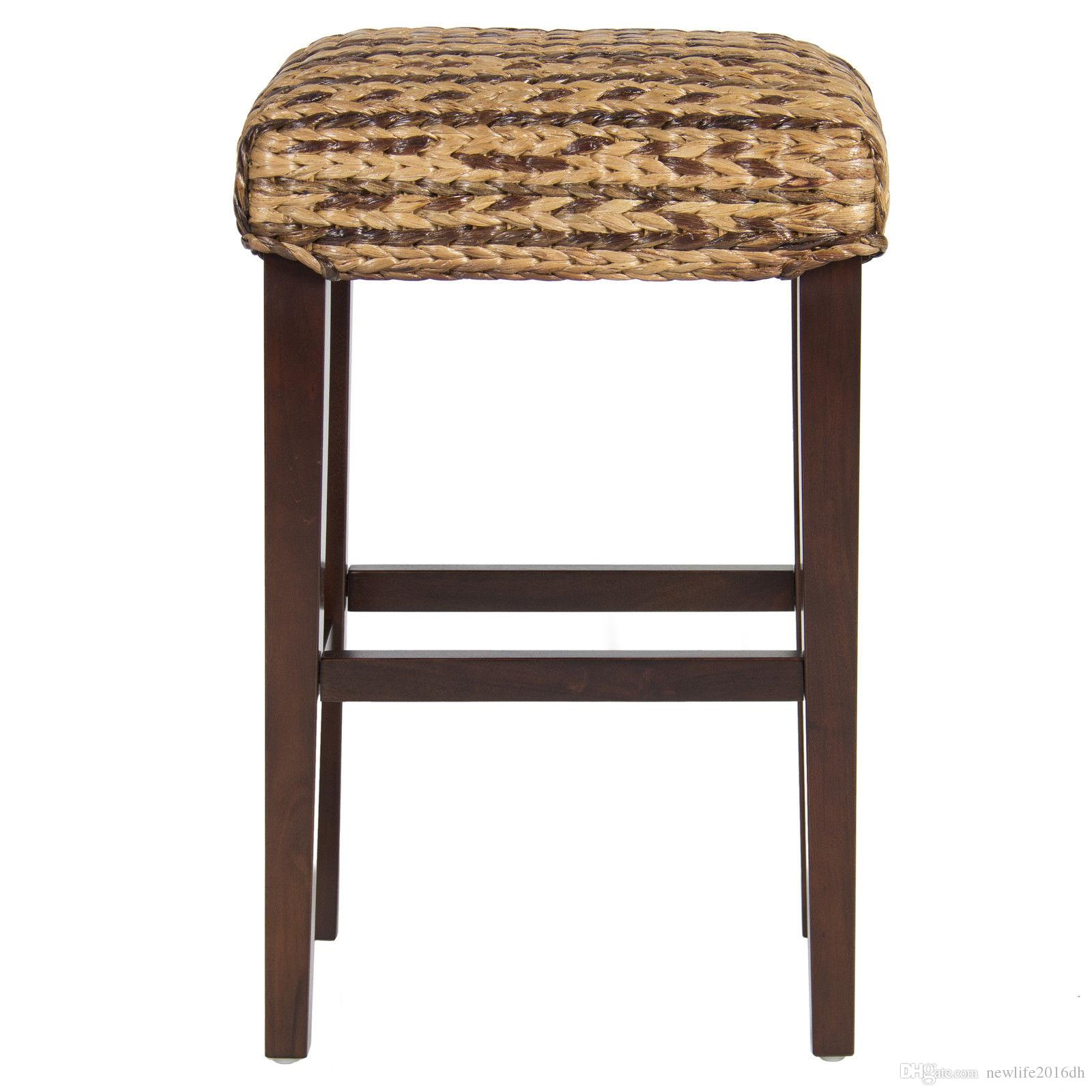 2018 bcp set of 2 hand woven seagrass bar stools mahogany wood frame bar height from newlife2016dh 135 68 dhgate com