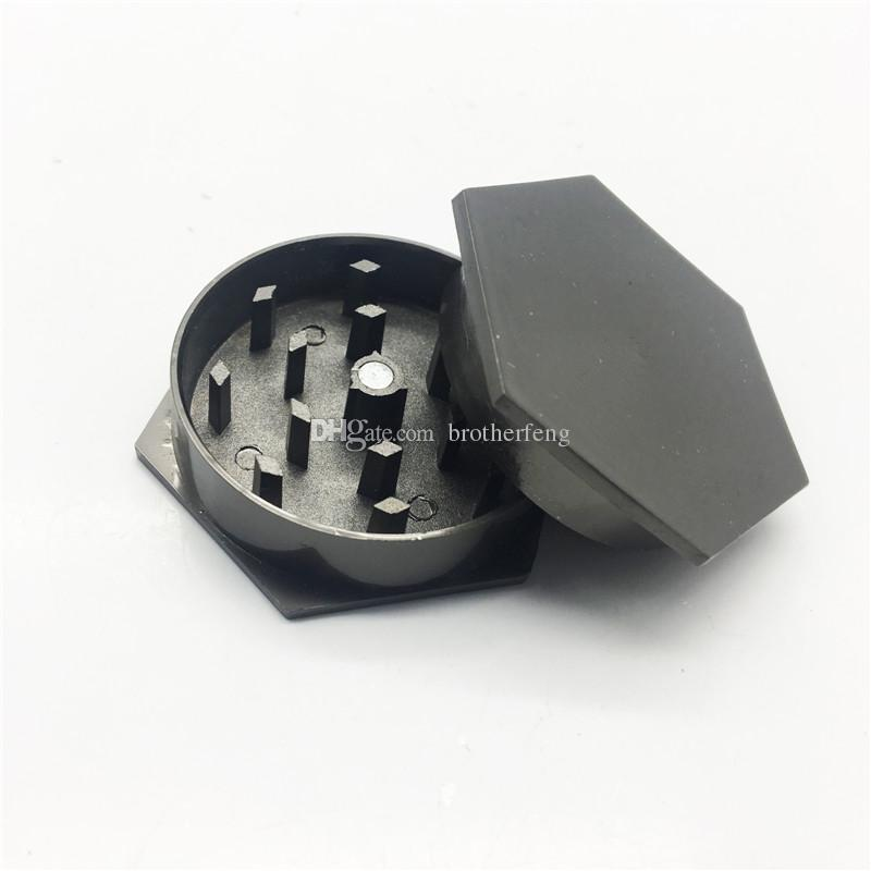Mini Hexagonal 2-layer 45mm Zinc Alloy Flat Plate Grinder Detector New Flat Tooth Gun Black Silver Grinder for Tobacco Smoking
