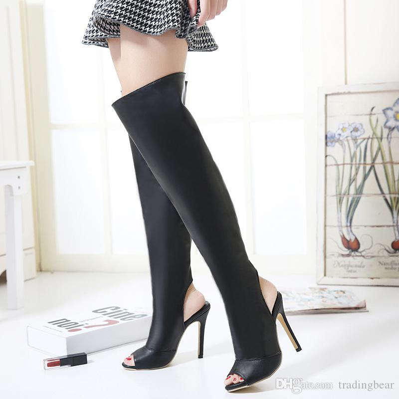 afa2cf3d09d Milan Fashion Bare Heel Peep Toe Slim Fit Soft Leather Over The Knee Thigh  High Boots Size 35 To 40 High Heels Heels From Tradingbear