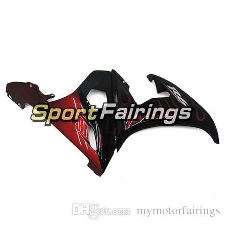 Negro Rojo Llamas Carenados Completos para Yamaha YZF600 R6 YZF-R6 05 Año 2005 Kit de carenado de ABS para inyección de motocicleta ABS Panel de carenados