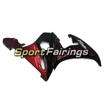 Siyah Kırmızı Yamalar Yamaha YZF600 R6 YZF-R6 Için Komple Marangozları 05 Yıl 2005 Enjeksiyon ABS Motosiklet Fairing Kiti Kaputlar Paneli