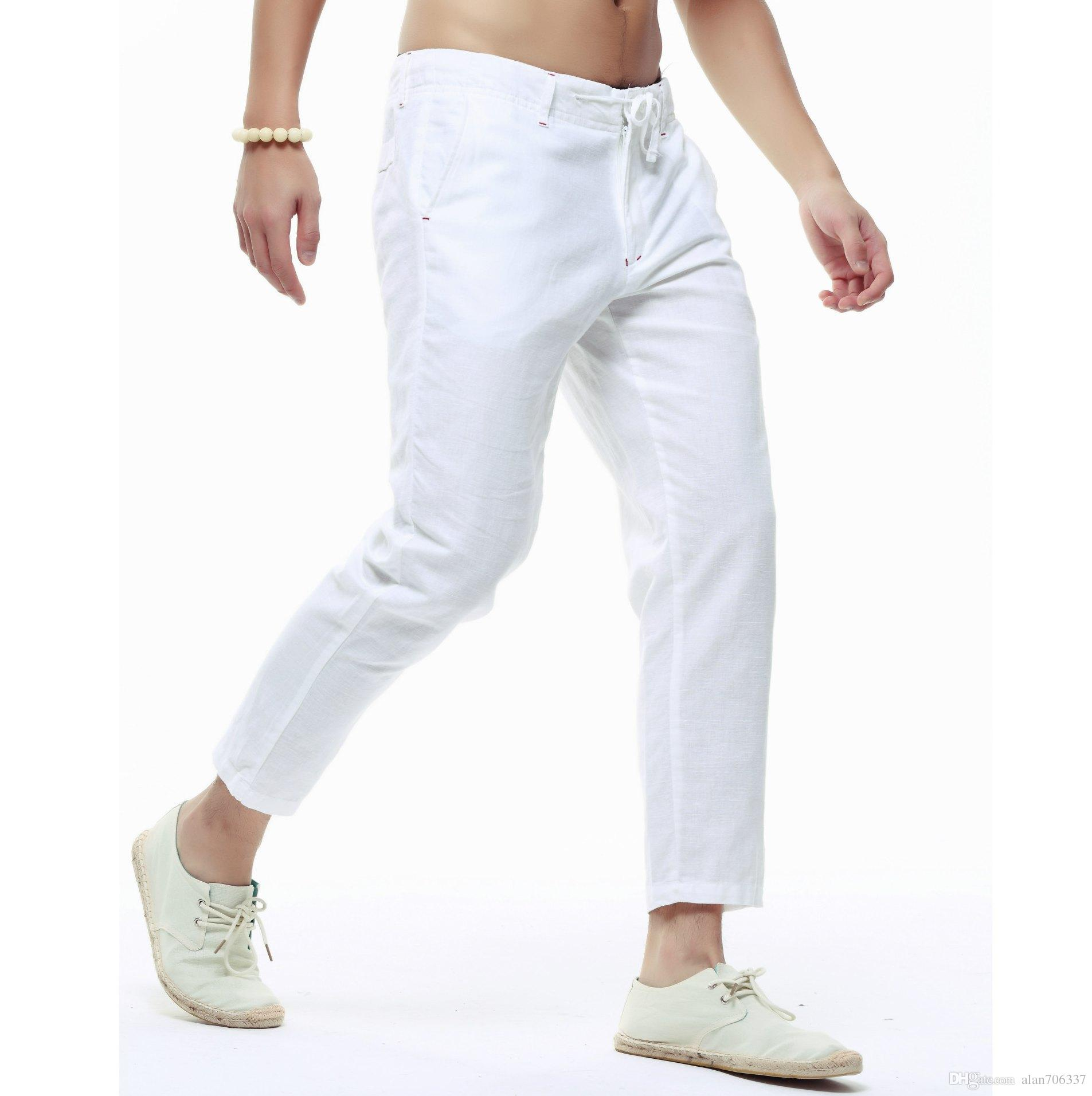 2e7ed94e099b Men s Linen Cotton Capri Pants Lightweight Slim Legs Casual Linen ...