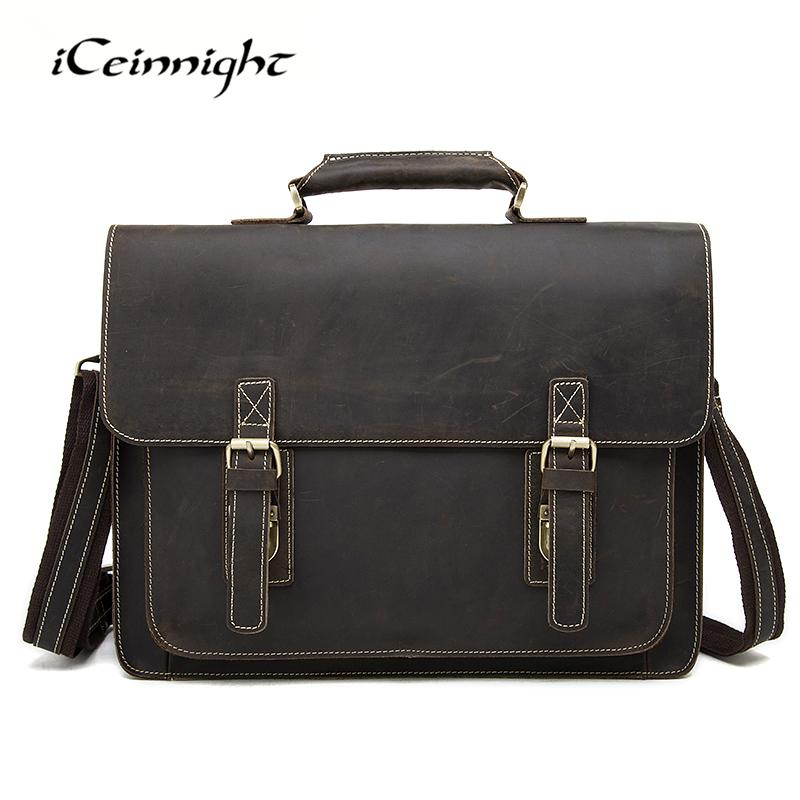 8e69e6261d05 Wholesale ICeinnight New Genuine Leather Briefcase Men Crazy Horse Leather  Laptop Bag Men Handbags Business Man Shoulder Bag Travel Bags Leather  Handbag ...