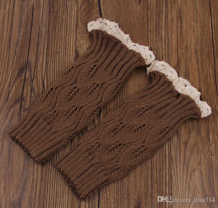 Hot women Crochet lace boot cuffs handmade Knit leg warmer Ballet lace Boot Cuff Leg Warmers Christmas Boot Socks covers BB105