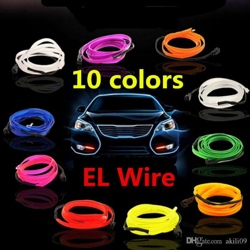 Flexible 3M EL Wire Rope Tube Neon Cold Light Glow Party Car Decoration With Cigarette Lighter 12V DHL Ship