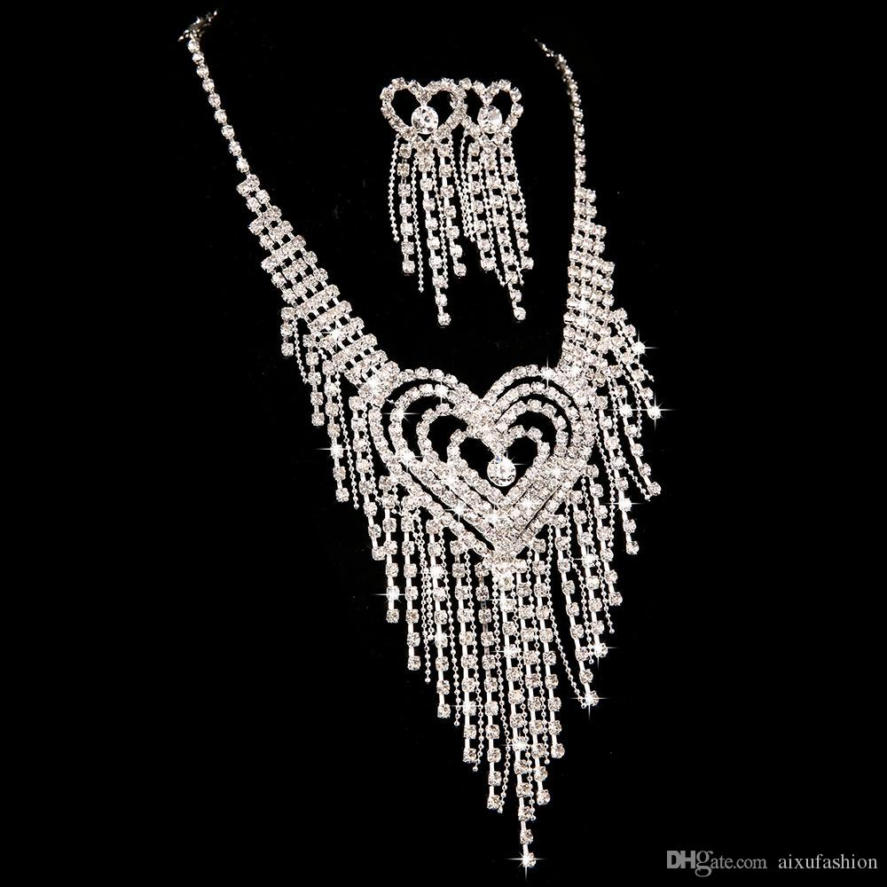 Wholesale Bride Wedding Necklace Earrings Jewelry Sets Bridal Wedding Hair Accessories Fashion Luxury Diamond Earrings & Necklace Sets