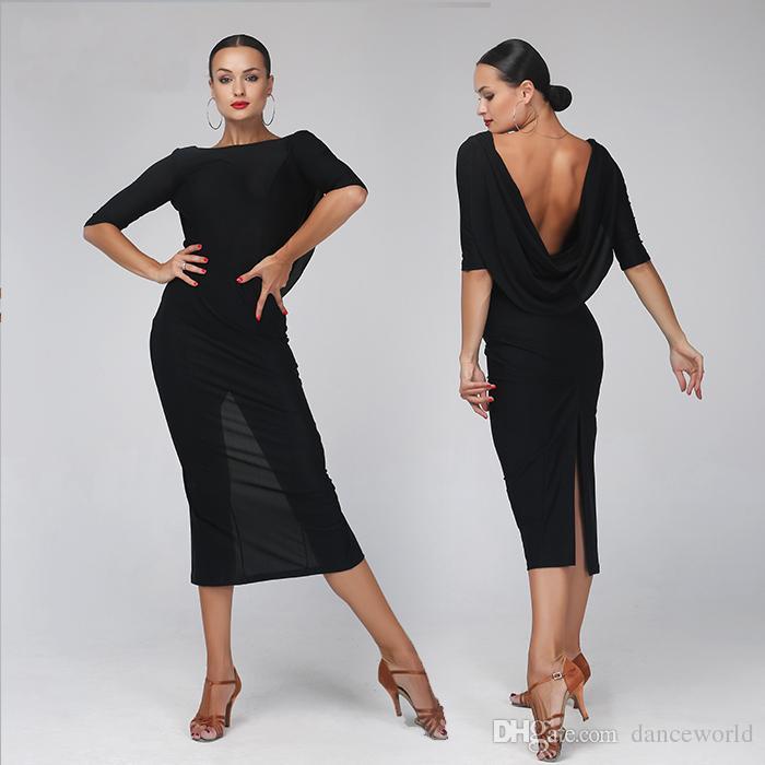 Großhandel Schwarz Backless Sexy Latin Tanzkleid Frau Rumba Samba ...