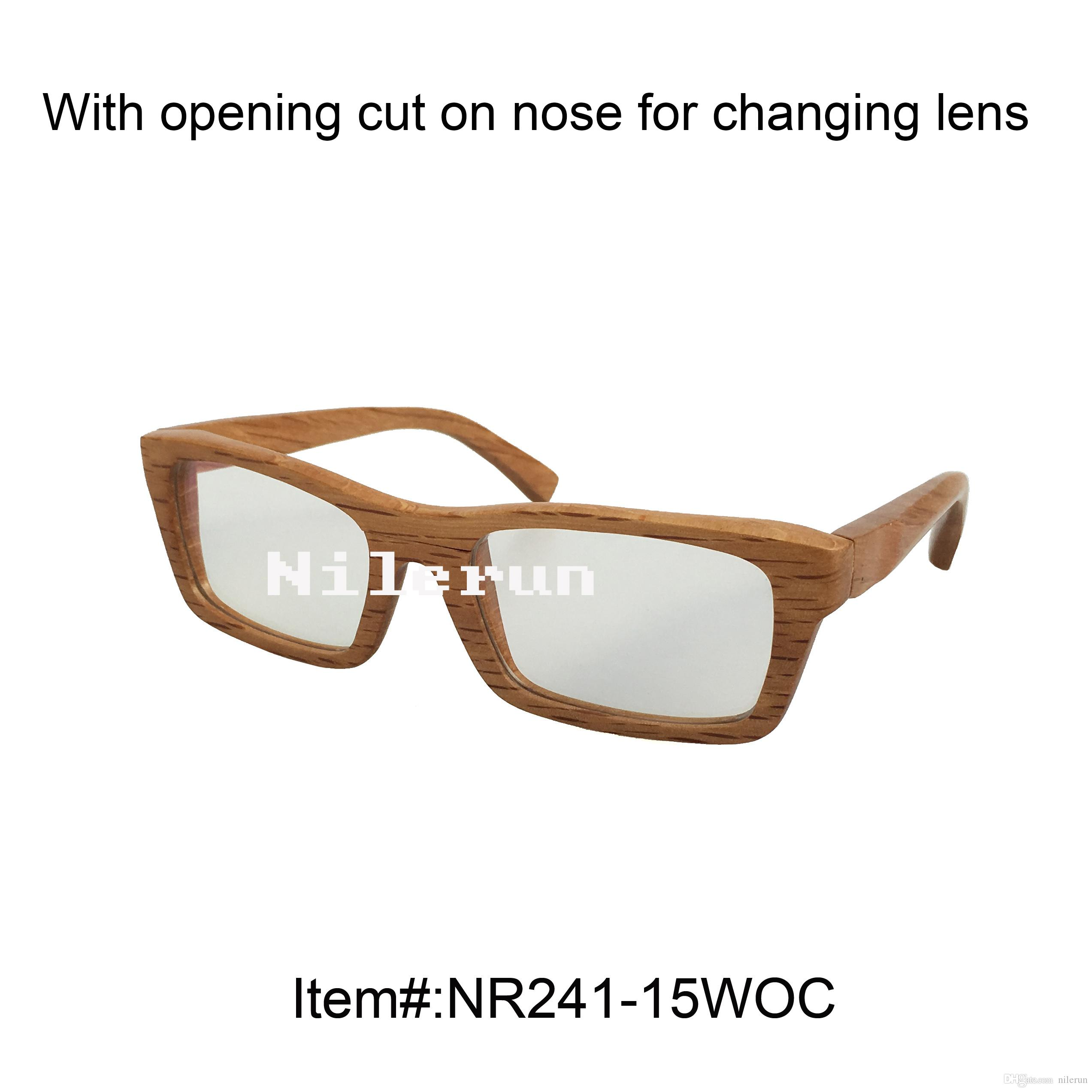 Rectangle Solid Wood Optical Glasses With Opening Cut For Changing ...