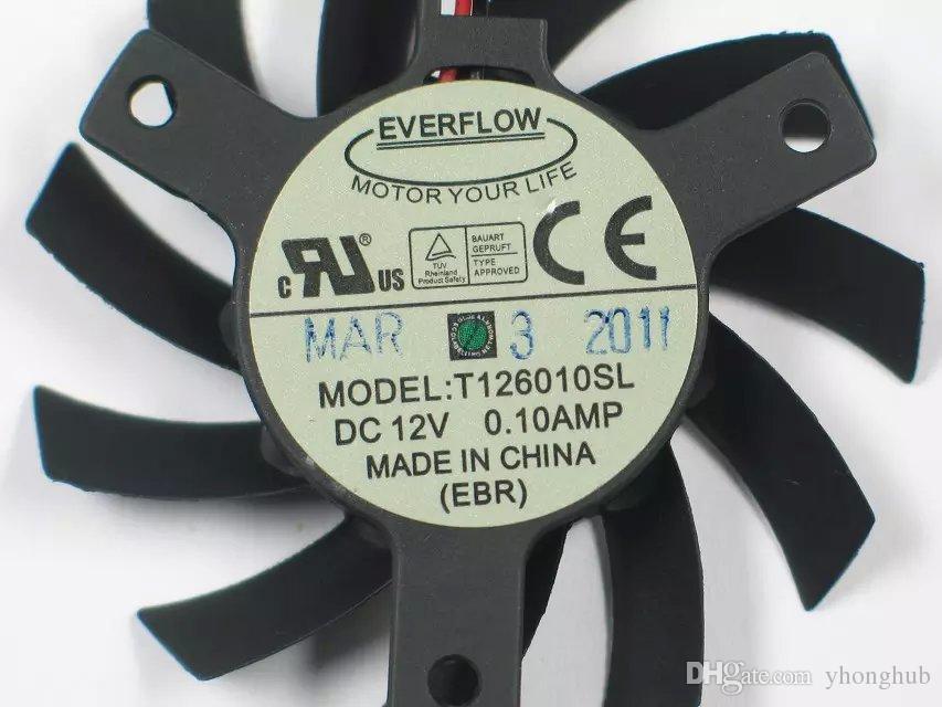 Freies Verschiffen T126010SL DC 12 V 0.10A 2-draht 2-pin stecker 70mm 55X55mm Server Runde Lüfter
