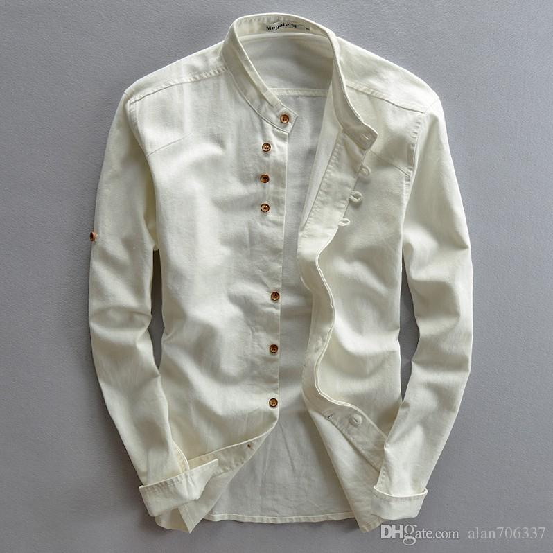 96005b6cf Men's Cotton Linen Casual Slim Shirts Button-Front Stand Collar Slim Fit Chinese  Style Fashion Shirts Male Asian Size TS-187