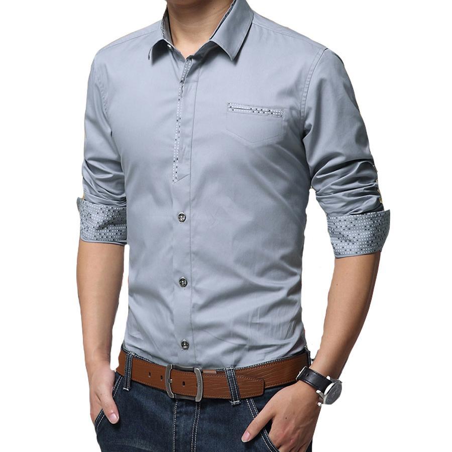 Wholesale Hot Sell Men Spring Shirts Full Sleeve Turn Down Collar