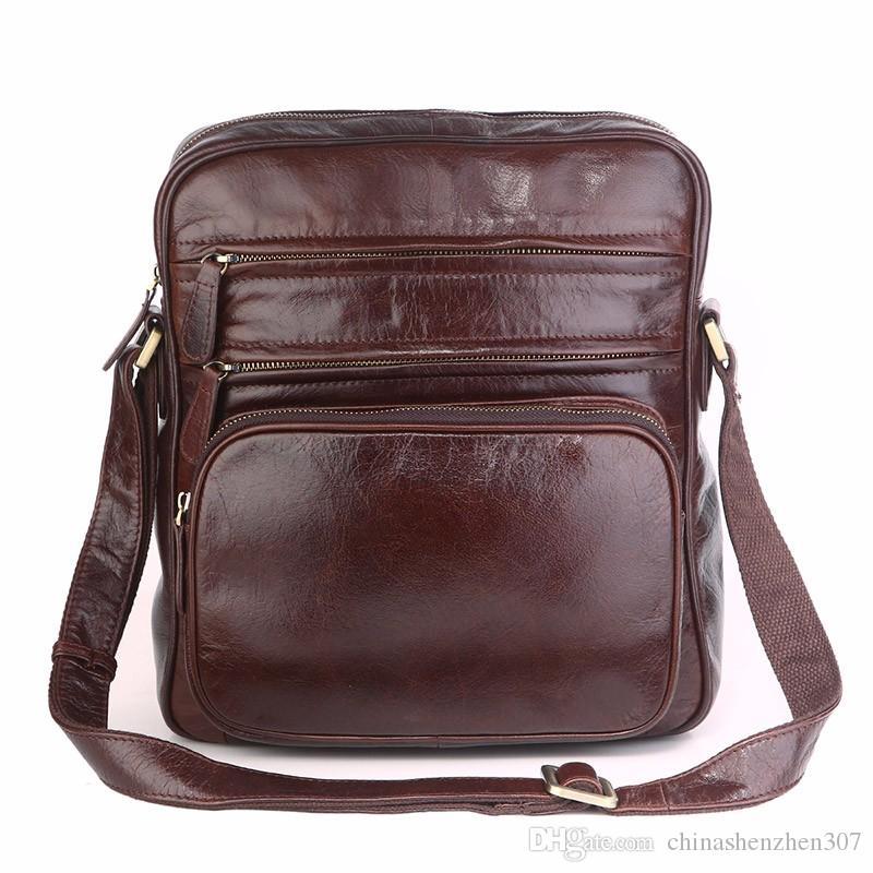 7d8f0ae0b291 Vintage Tan Leather Trendy Shoulder Messenger Bag Men s Sling Bags ...
