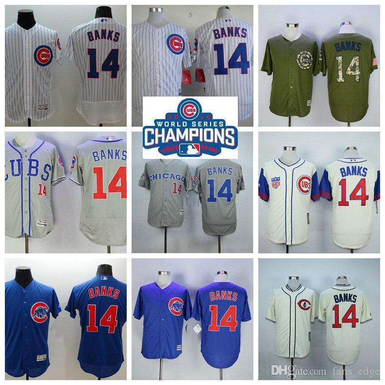 huge discount 561fa 3e572 ebay cubs 14 ernie banks stitched white mlb jersey e868f 98234