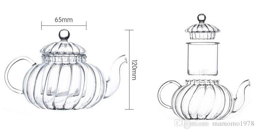5ピース/セット高温抵抗ガラスパンプンティーポット600ml + 4ダブルウォールガラスティーカップ50ml、トップグレードギフトJ1052