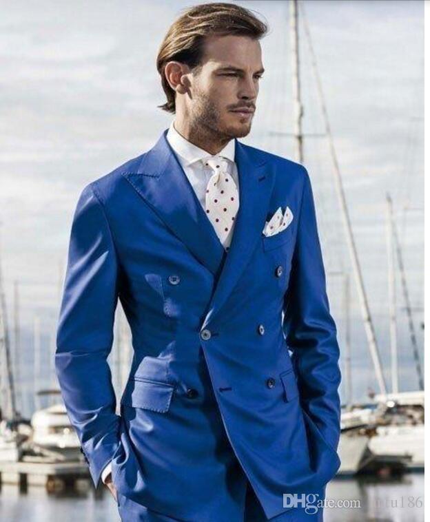 Son Mavi Erkek Takım Elbise moda Doruğa Yaka yakışıklı Erkek Düğün Takımları Kruvaze balo Suits Ceket + Pantolon