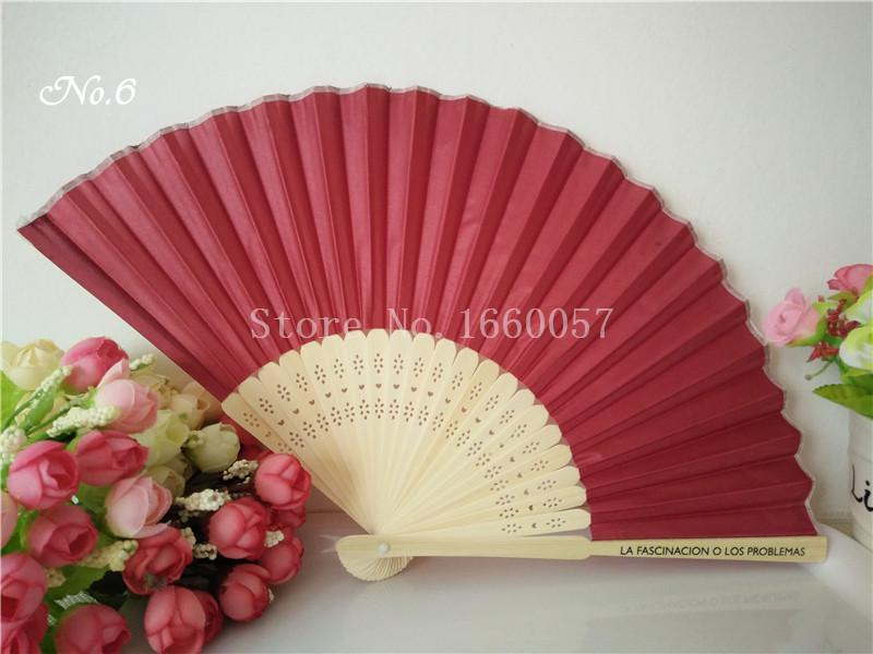 Wedding Favors Gift Solid Color Silk Bamboo Fan Personalized Cloth Wedding Hand Folding Fans +Customized Printing+DHL
