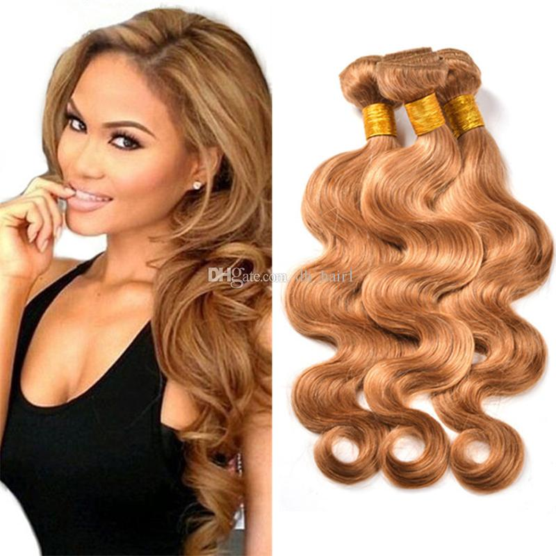#27 Honey Blonde Brazilian Body Wave Hair 3pcs/lot Stawberry Blonde Brazilian Hair Weave Bundles 100% Virgin Human Hair Extensions