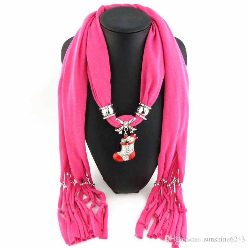 Newest Cheap Fashion Women Scarf Direct Factory Jewelry Tassels Scarves Women Rhinestones Necklace Scarves With Big Star Pendant