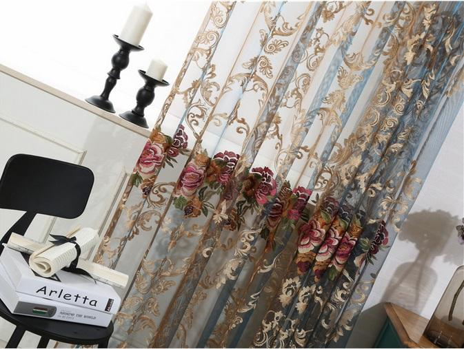 Sheer Curtains Elegant Floral Embroidered Sheer Rod Pocket Curtain Panel Home Decorations Curtains Voile Drapes Tulle Curtains for Bedroom