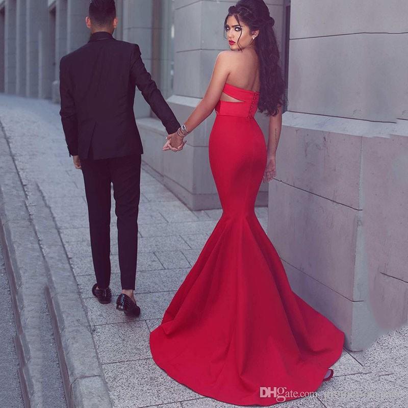 Mhamad 2017 Red 2ピースウエディングドレスMermaid Sweetheartプリーツクリスクロススイープ列車イブニングパーティーガウン