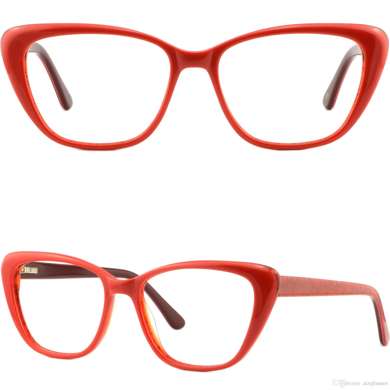 00c55d7401e Large Wide Cateye Women S Frames Plastic Spring Hinges Prescription Glasses  Red Eyeglass Frame Displays Eyeglass Frame Materials From Aceglasses