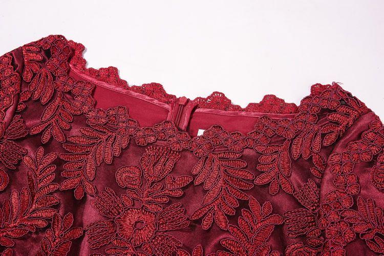 Vestido de las mujeres del bordado una línea de cuello redondo 3/4 manga vestidos 1116210