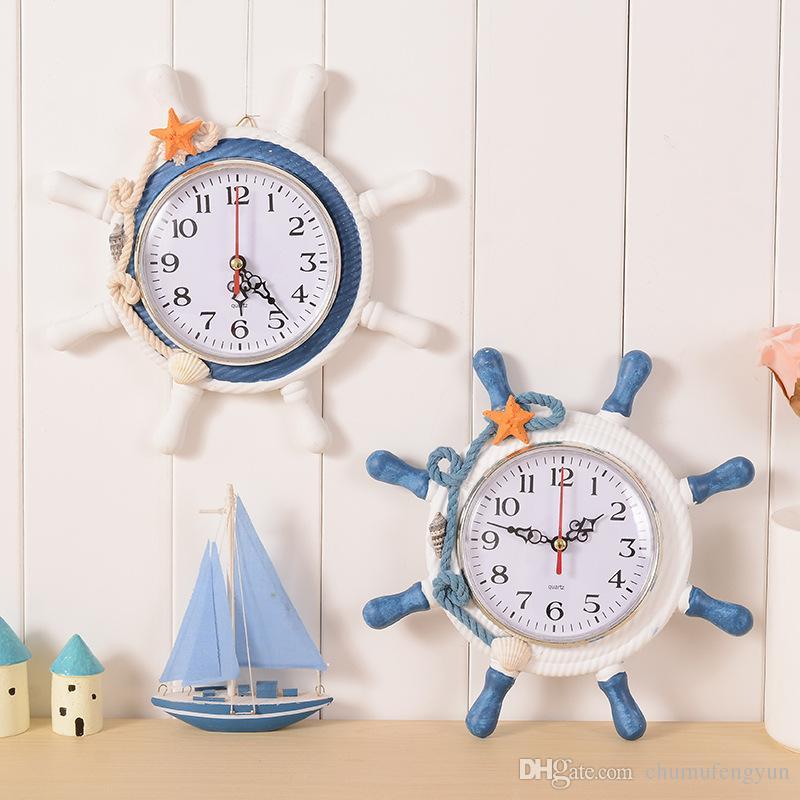 Large Anchor Wall Decor mediterranean style wooden anchor wall clock rudder wall clocks