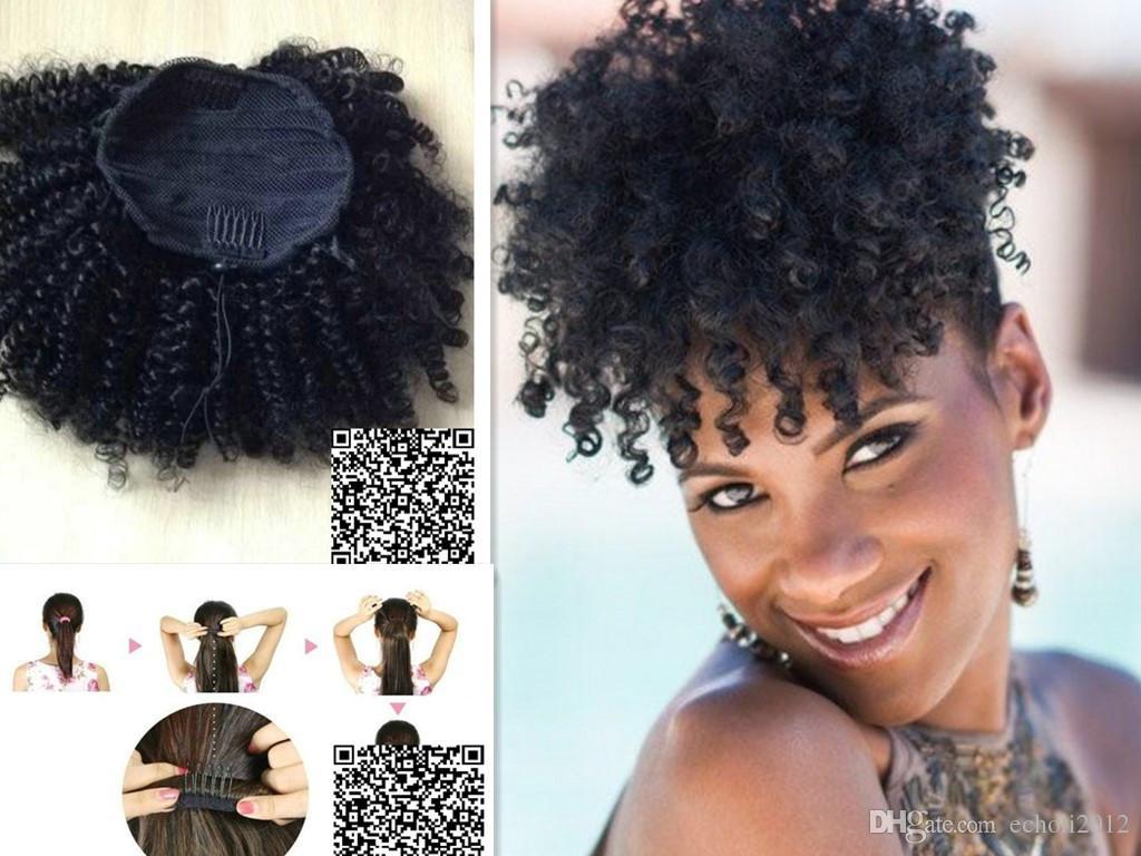 Short High Ponytail Afro Puff Curly Ponytail Hair Extension Dark Brown Indian Virgin Hair Drawstring Ponytail For Black Women 100g