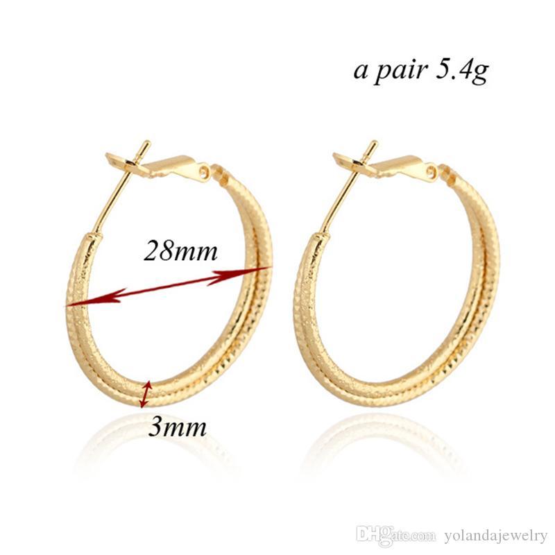 Boucles d'oreilles Simple Mode 18K Jaune / Rose / Blanc plaqué or 2 couches Hoops Boucles d'oreilles pour les filles pour femmes de soirée de mariage