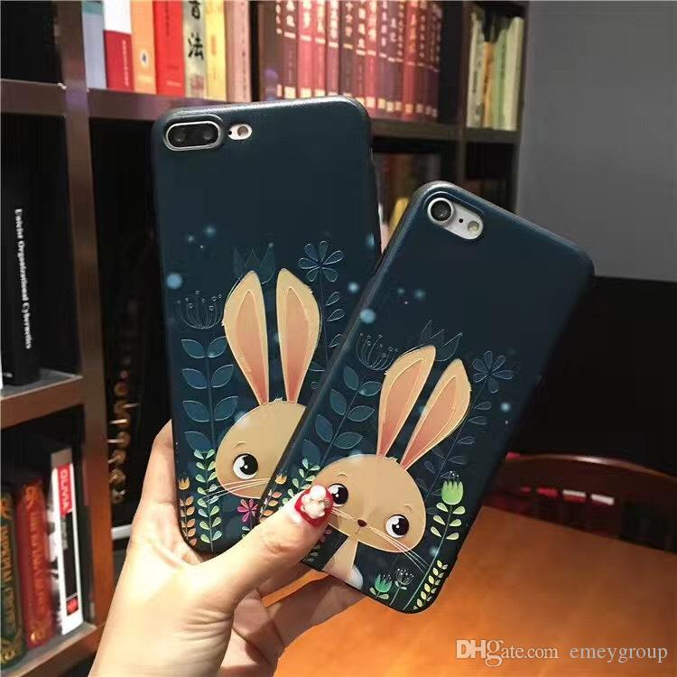 3D Relief Cute fox Cartoon Soft Case For iPhone 8 7 6 6S Plus Phone Silicone Animal Cover Back For iPhone 6 7 6S oppo r9 plus r9s plus Capa