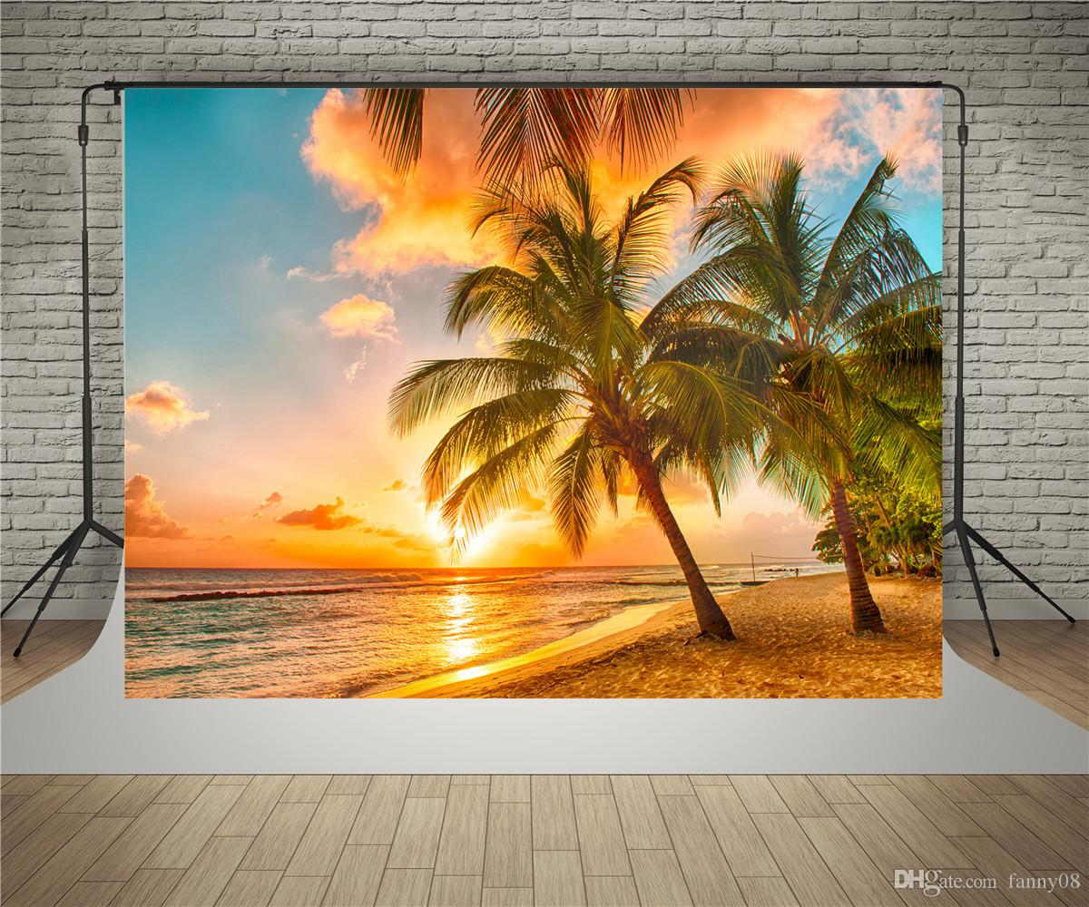 SUSU Polyester Material Without Wrinkles Photography Backdrops Sunset Beach  Background Coco Tree Sandy Photo Studio