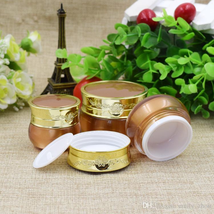 20 Stücke 10g / 15g / 30g Gold leere Hautpflege Creme Kunststoffbehälter, kosmetische Creme Glas 50 ml Hautpflege Flaschen für Körperpflege Creme