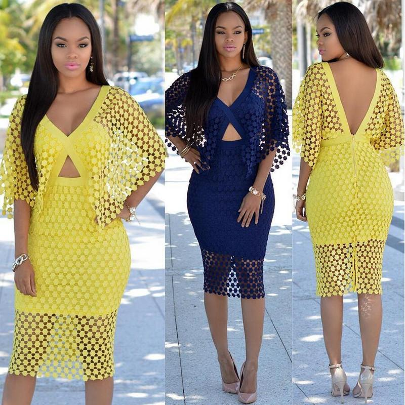 3bdcd5e706b 2019 Wholesale Sexy Dresses Yellow White Crochet Dolman Sleeves Dress 2017  Summer Women V Neck Bodycon Party Dresses Plus Size Clothing XD840 From  Edmund02