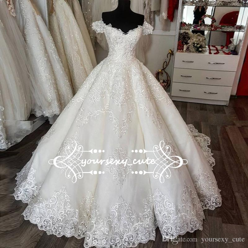 Luxury Ball Gown Wedding Dresses Sweetheart Off Shoulder Train Short