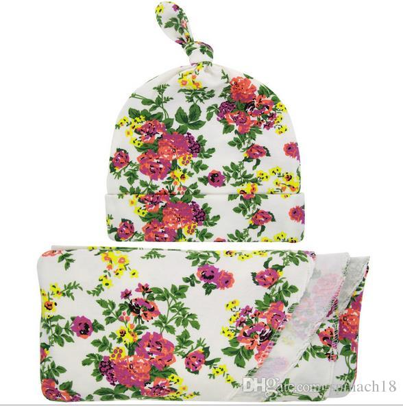 New European Style Baby Florals Swaddle Wrap Blanket Wraps Blankets Nursery Bedding Towelling Baby Infant Wrapped Cloth With Hat