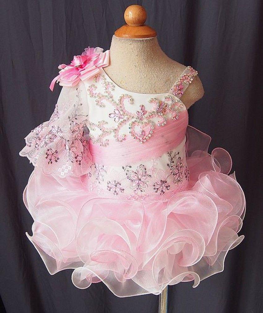 Real Newest Pink Ball Gowns Cupcake Girls Pageant Dresses Ruffles Beaded Sequin Vestidos De Desfile Kids Party Dresses Flower Girl Dresses