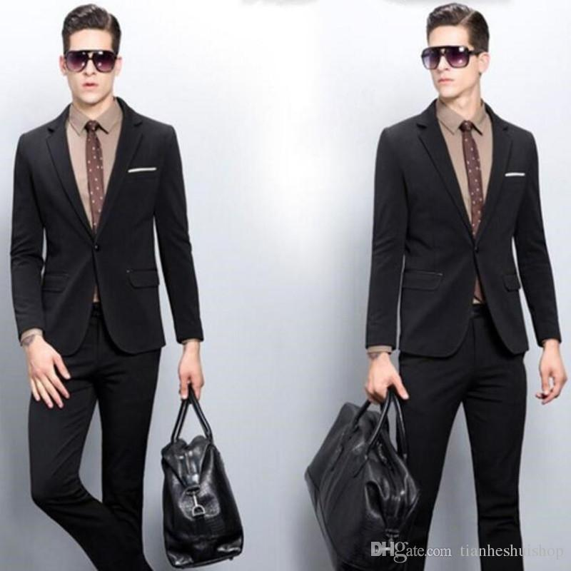 Fashion Men Suits Cool Handsome groom suits Tuxedos Slim Fit Notch Lapel Two Buttons Black formal suits(Jacket+Pant)