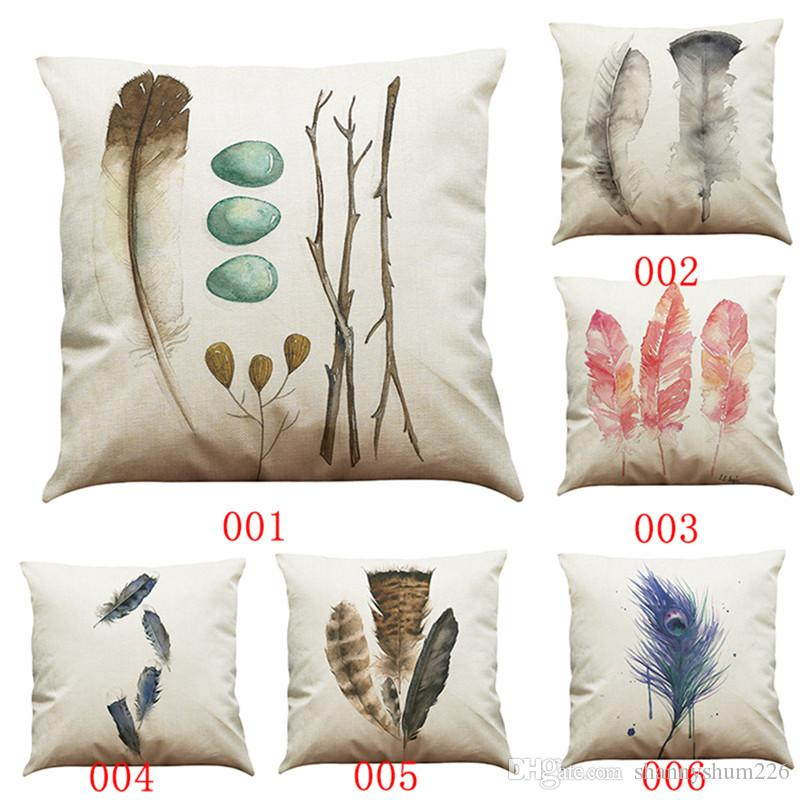 Hand Painted Feather Linen Cushion Cover Home Office Sofa Square Gorgeous Hand Painted Decorative Pillows