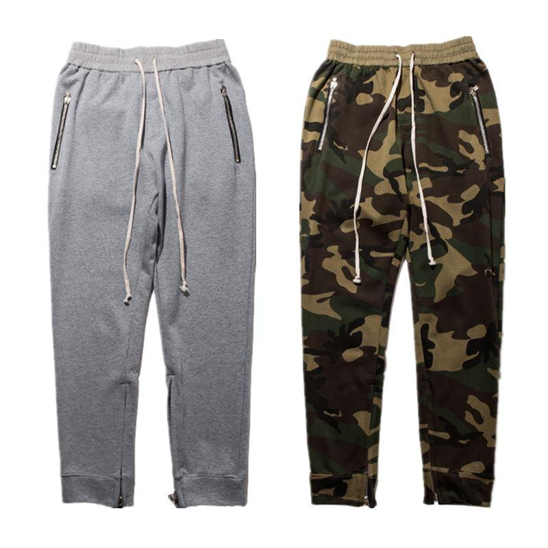 hot Pants Men Camouflage Fear Of God Zipper Justin Bieber Pant Trousers Cargo Military Hip Hop Streetwear Harem Pants