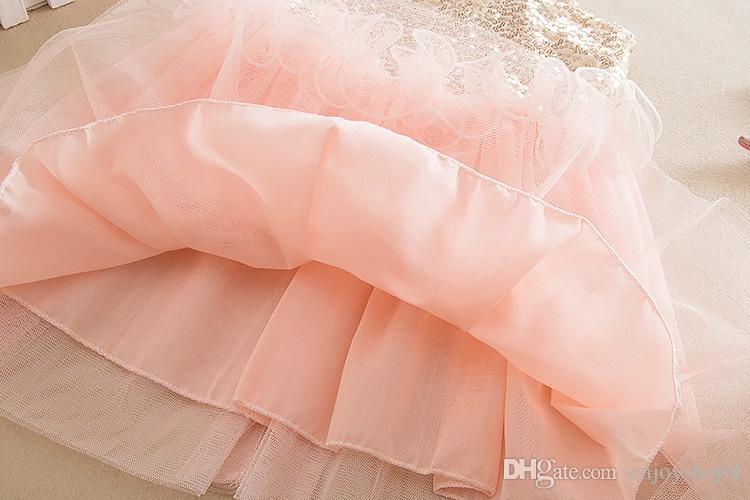 2017 Hot Sale Girl Summer Sequin Dress Kids CLothes Girl Princess Dress Party Dress For 2-7years Old