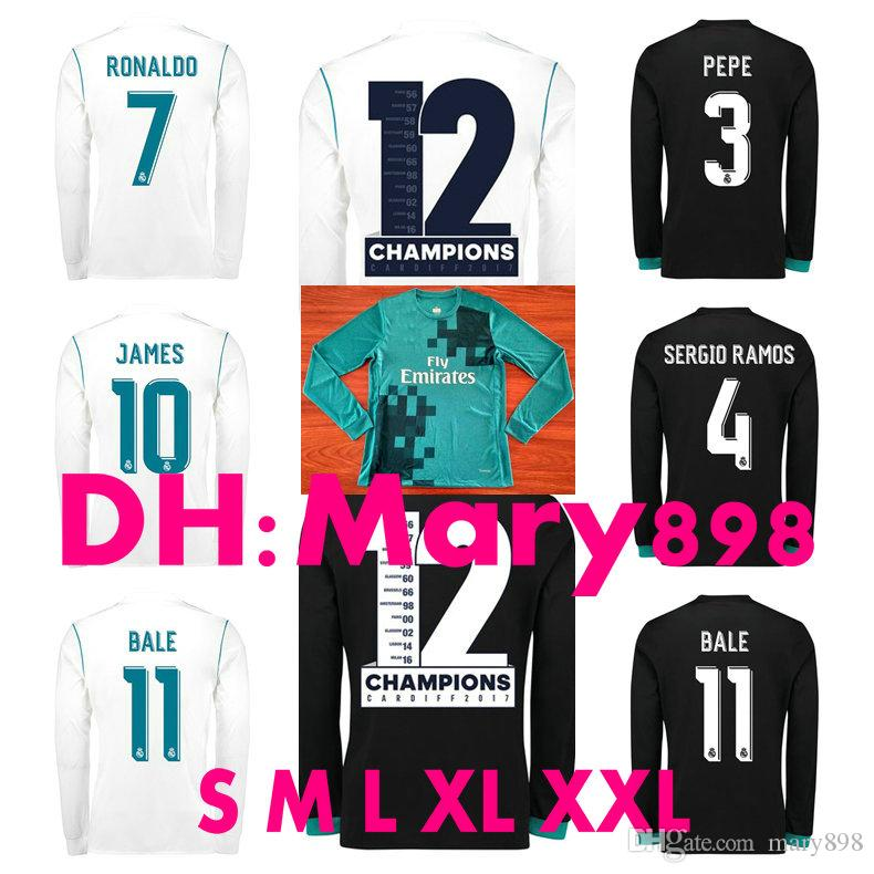 f36f96997 2018 Thai Quality 2017 2018 Real Madrid Long Sleeves Soccer Jersey Ronaldo  Home White Away Black James Bale Ramos Kroos Modric Football Shirts From  Mary898