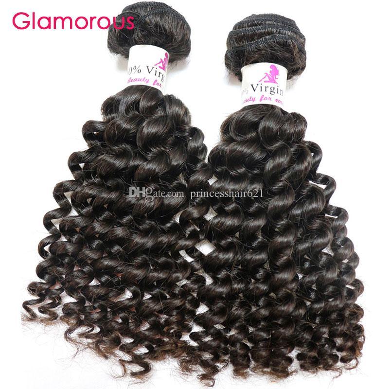 Glamorous Cheap Brazilian Weave Unprocessed Human Hair Extensions 2 Bundle Natural Wave Deep Wave Curly Straight Virgin Brazilian Hair Weave