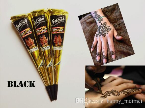 New Black Indian Henné Tatouage Pâte Tube Cone Corps Art Temporaire 25g Dessiner Sur Le Corps Par Vous-même DHL Livraison Gratuite