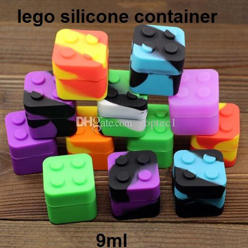 silicone jars dab wax container lego silicon shatter resistant oil container 9ml square silicon food storage stackable container FDA approve