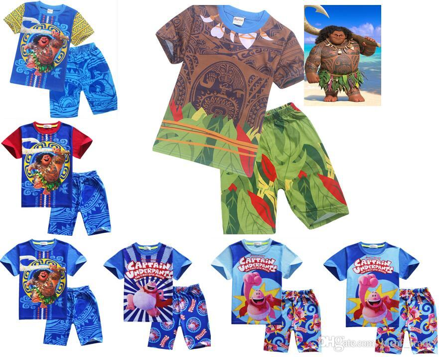 2018 2017 Moana Kids Outfits Set Maui Short Tshirts Pants Boys Pajamas Clothing Sets Summer Beach Casual Clothes Dhl Shipping From Klmf Trade
